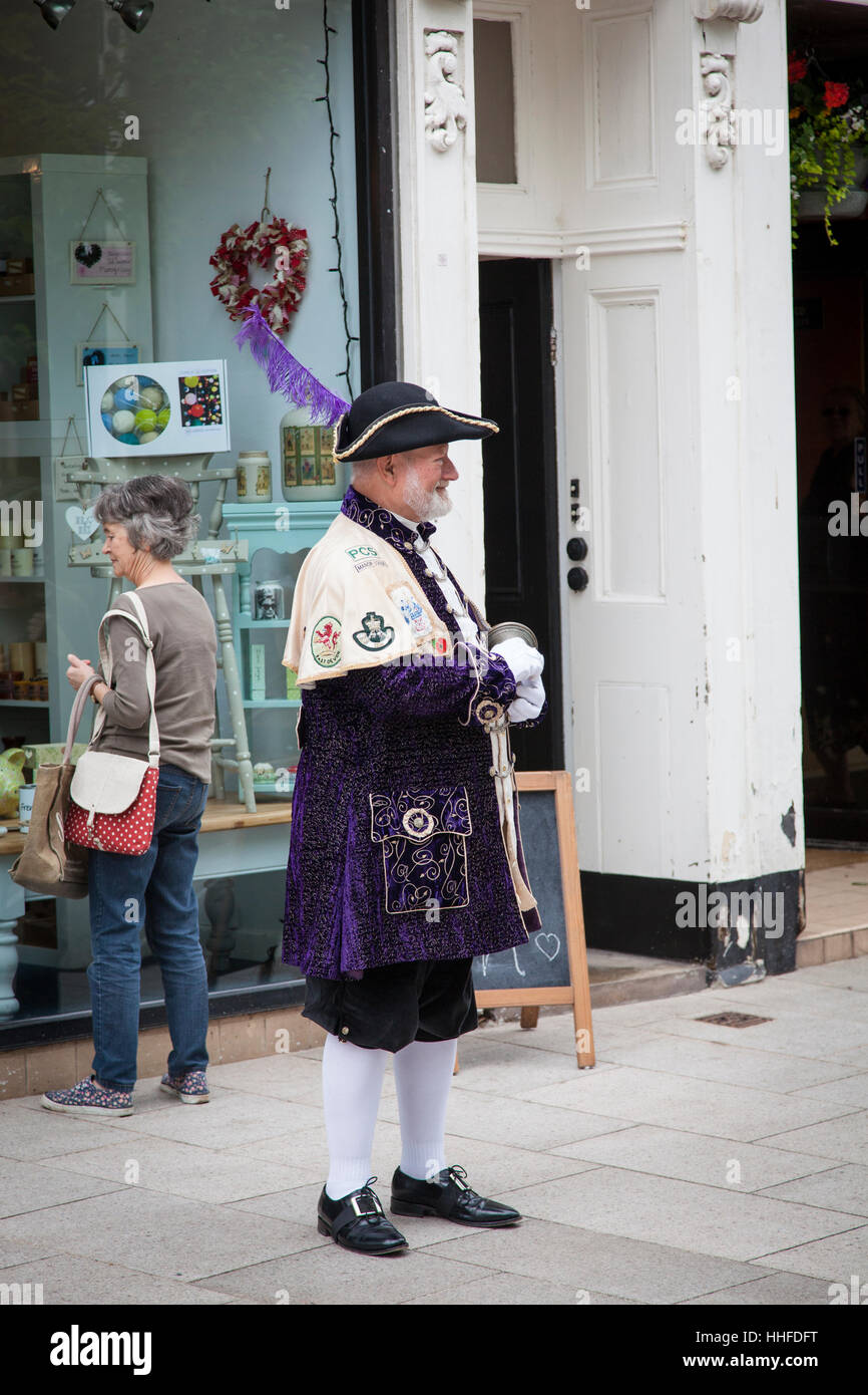 Town Crier in his uniform on the streets of Sidford, Devon. - Stock Image