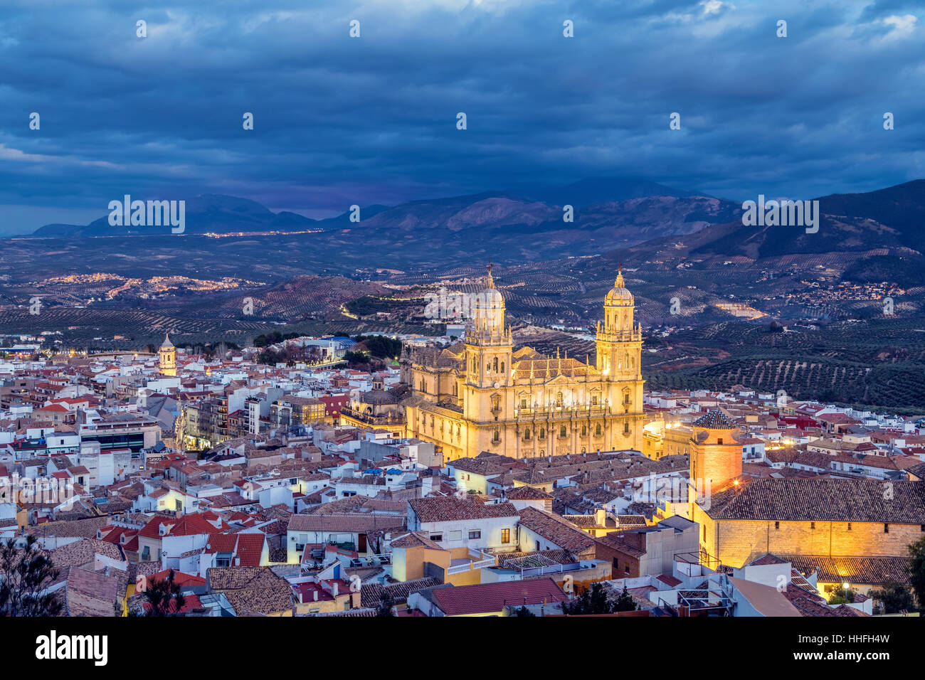 Cityscape of Jaen in the evening, Andalusia, Spain - Stock Image