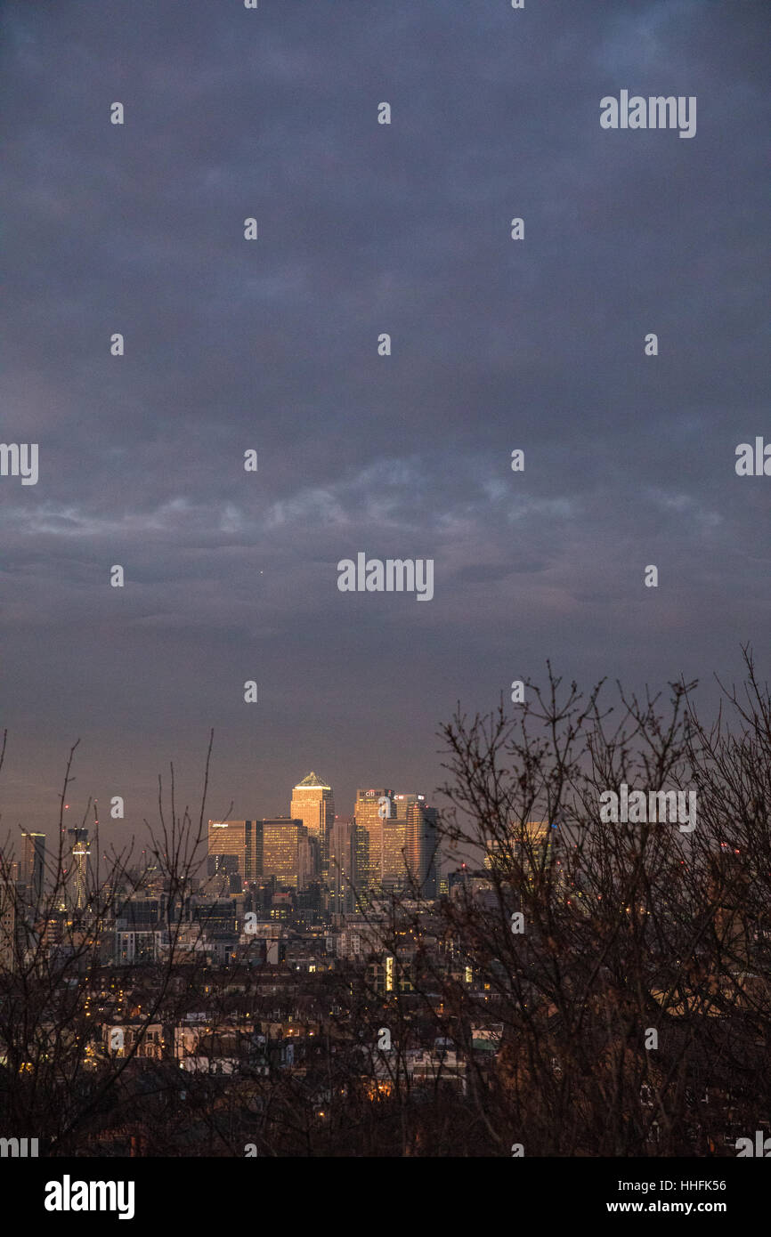 London, UK 18th January, 2017 Beautiful  afternoon  and early evening in Greenwich, London. View over Canary Wharf, - Stock Image