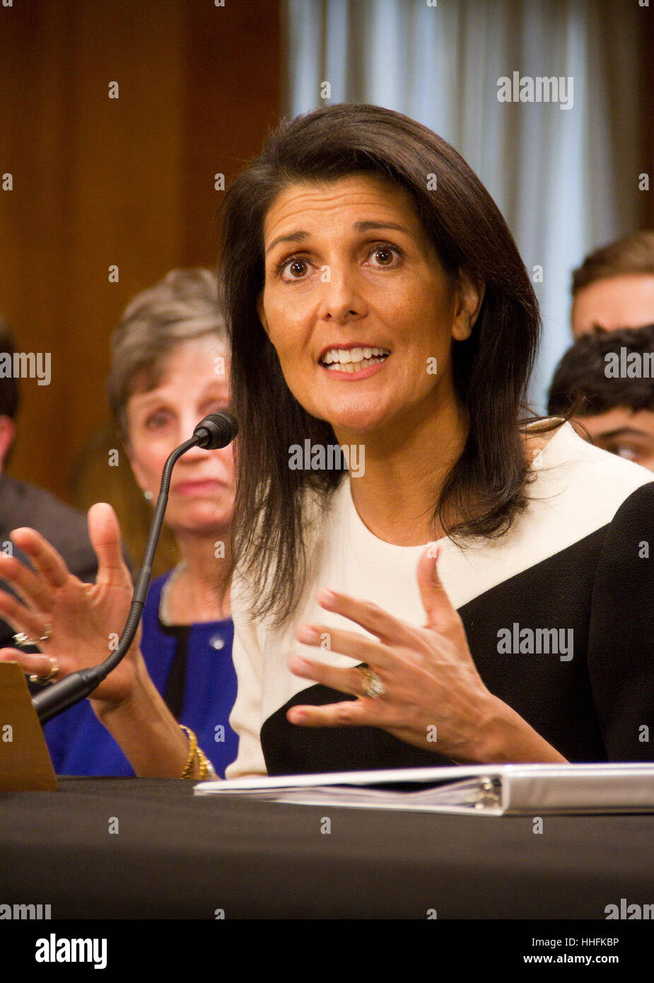 Washington DC, USA. 18th January 2017. Gov. Nikki Haley, (R-SC), speaks during her Senate Foreign Relations Committee - Stock Image