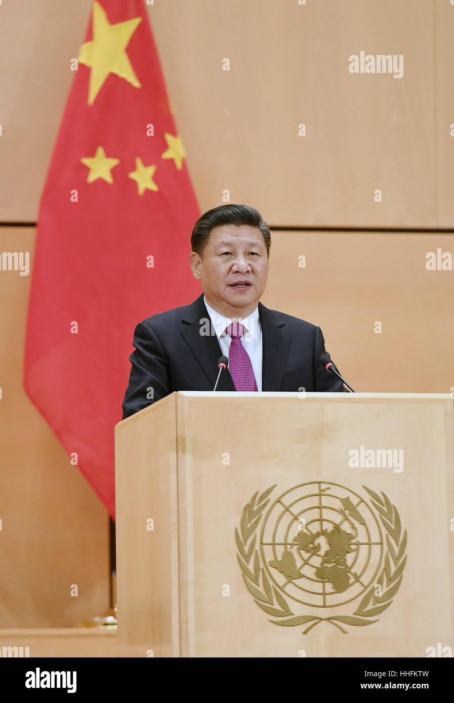 (170118) -- GENEVA, Jan. 18, 2017 (Xinhua) -- Chinese President Xi Jinping delivers a keynote speech at the United - Stock Image
