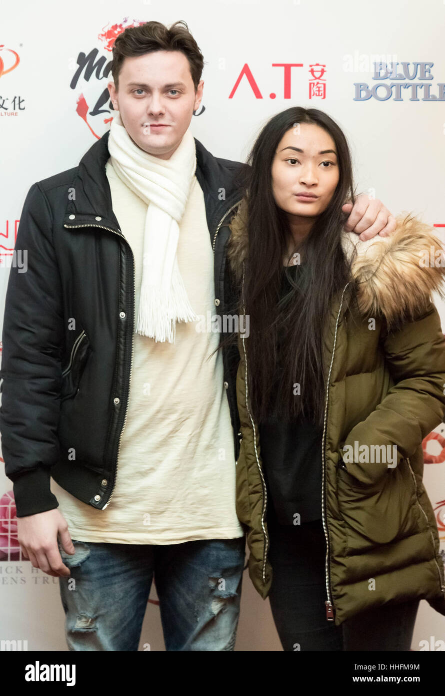 London, UK. 18th January, 2017. Tyger Drew-Honey and his date attend the VIP launch of the Magic Lantern Festival - Stock Image