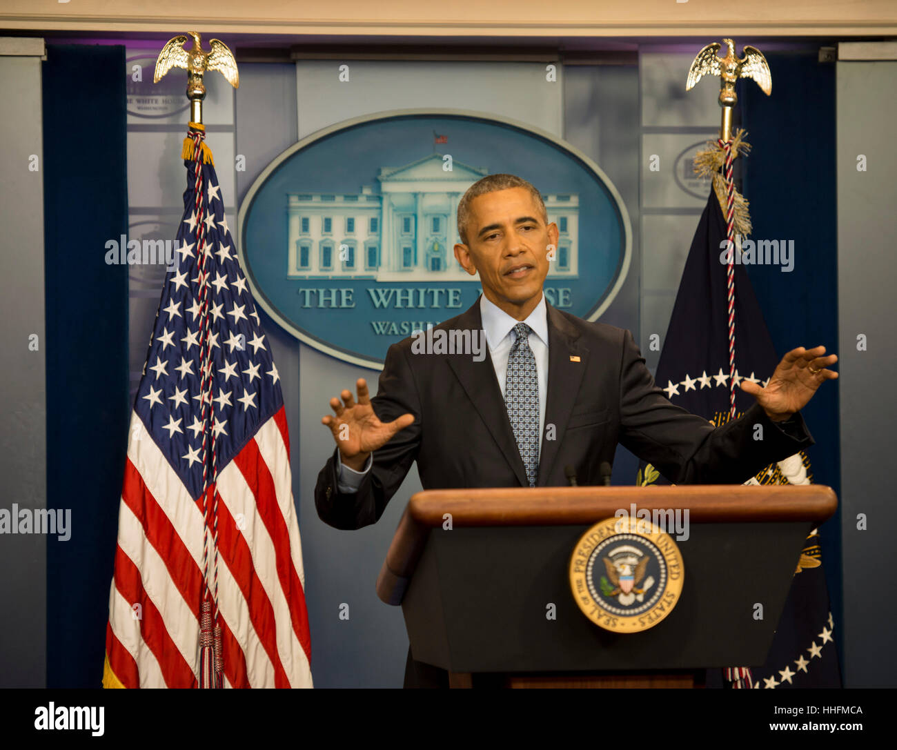 Washington, DC, USA. 18th Jan, 2017. President Barack Obama holds his last official press conference as President. - Stock Image