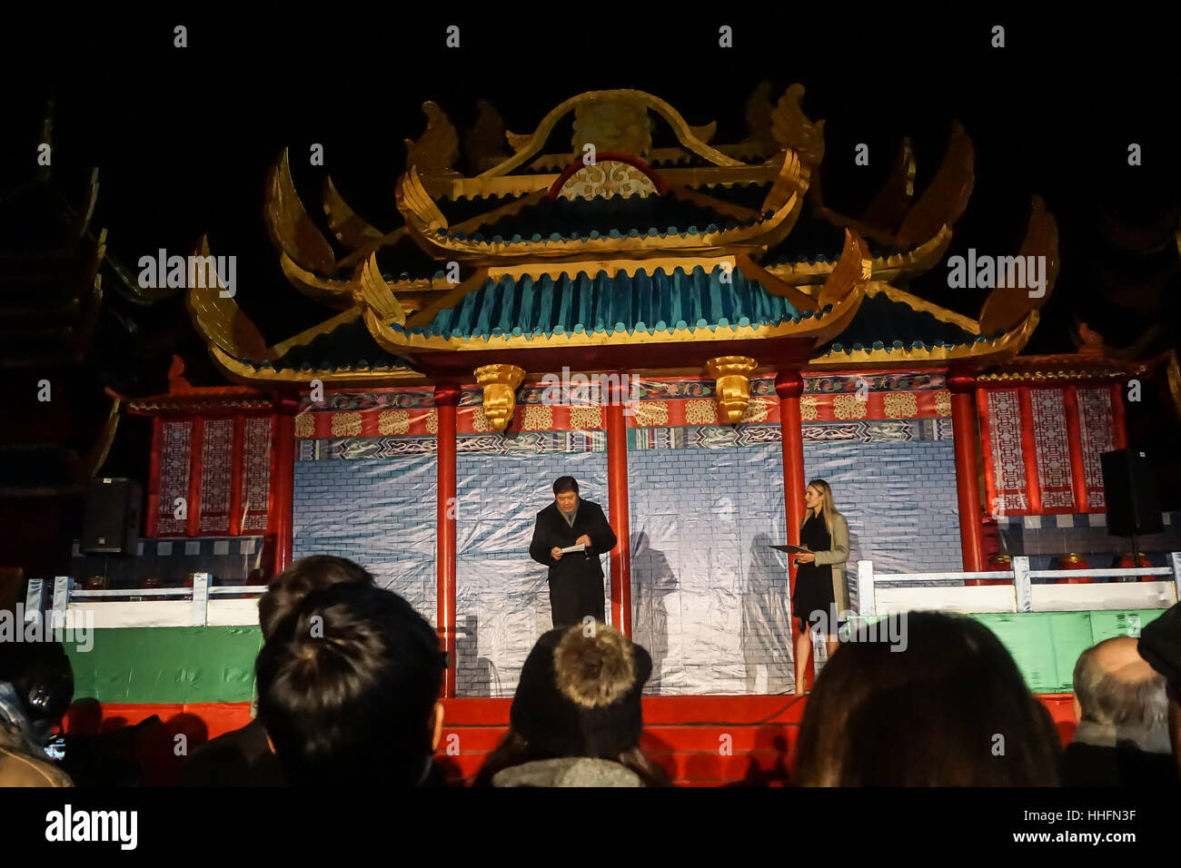 London, UK. 18th January, 2017. 'Magical Lantern Festival' VIP Night with an all-new show transforming historic Stock Photo