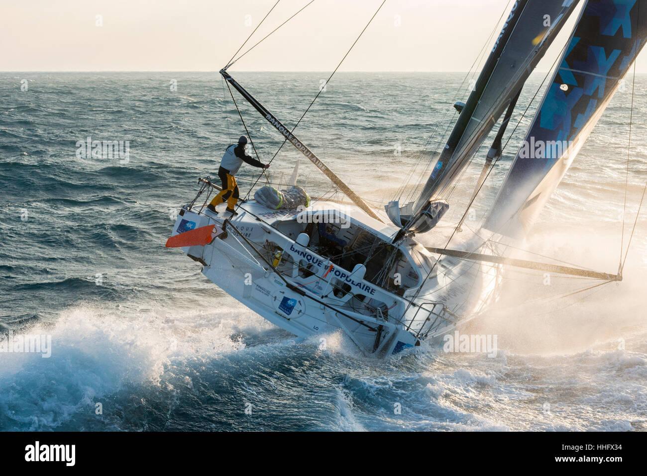 Yacht race Vendée Globe 2017: Armel Le Cléac'h aboard the Banque Populaire VIII monohull sailing (2017/01/19) Stock Photo
