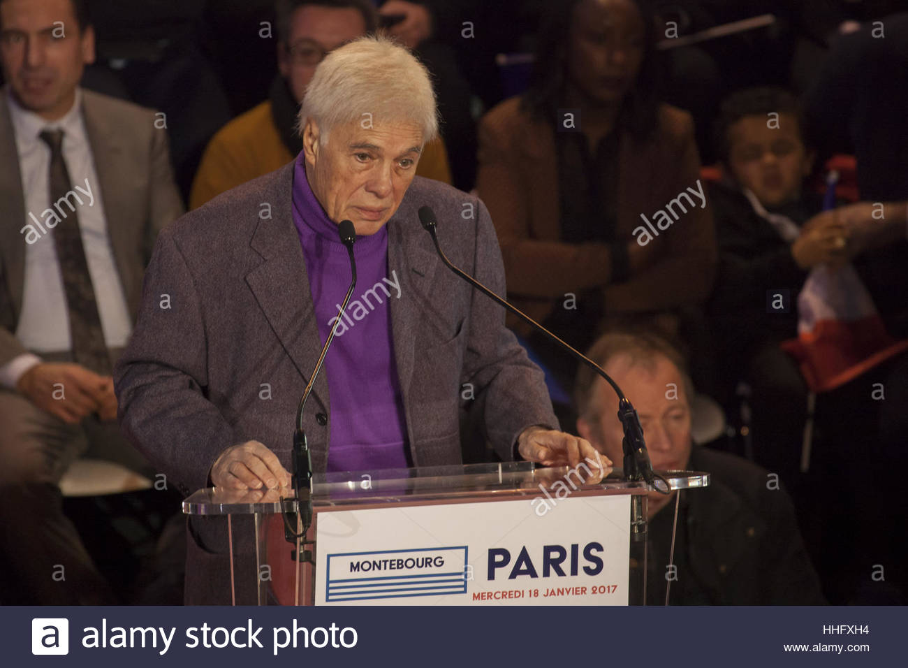 Paris, France. 18th Jan, 2017. French comedian Guy Bedos gives a speech during a meeting for former French economy - Stock Image