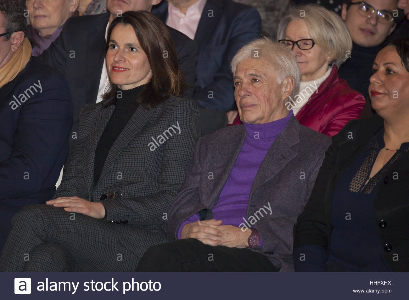 Paris, France. 18th Jan, 2017. Former French Culture minister Aurzlie Filippetti (C-L) and partner of Arnaud Montebourg - Stock Image
