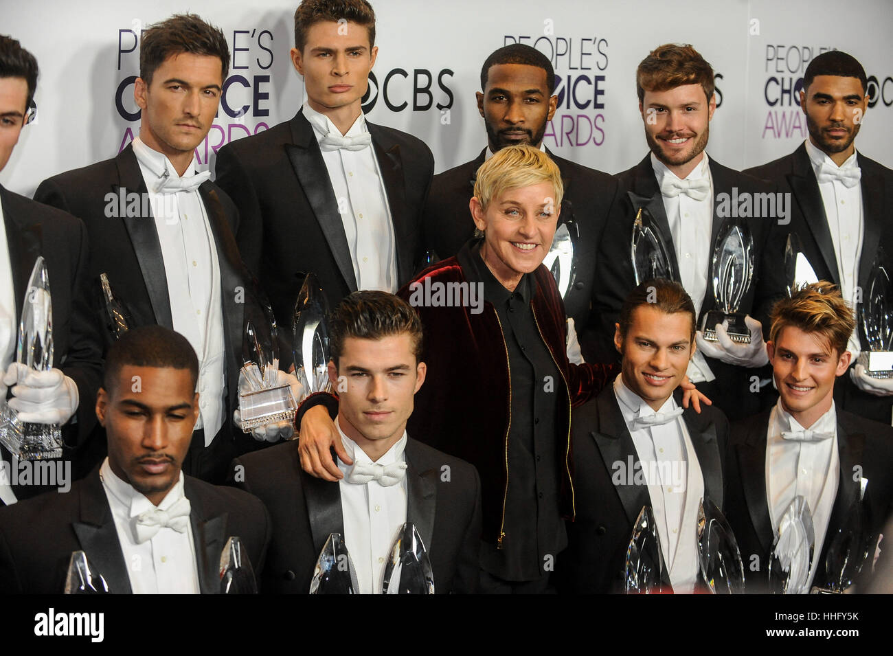 Los Angeles, USA. 18th Jan, 2017. Ellen DeGeneres (C), winner of Favorite Daytime TV Host, Favorite Animated Movie - Stock Image