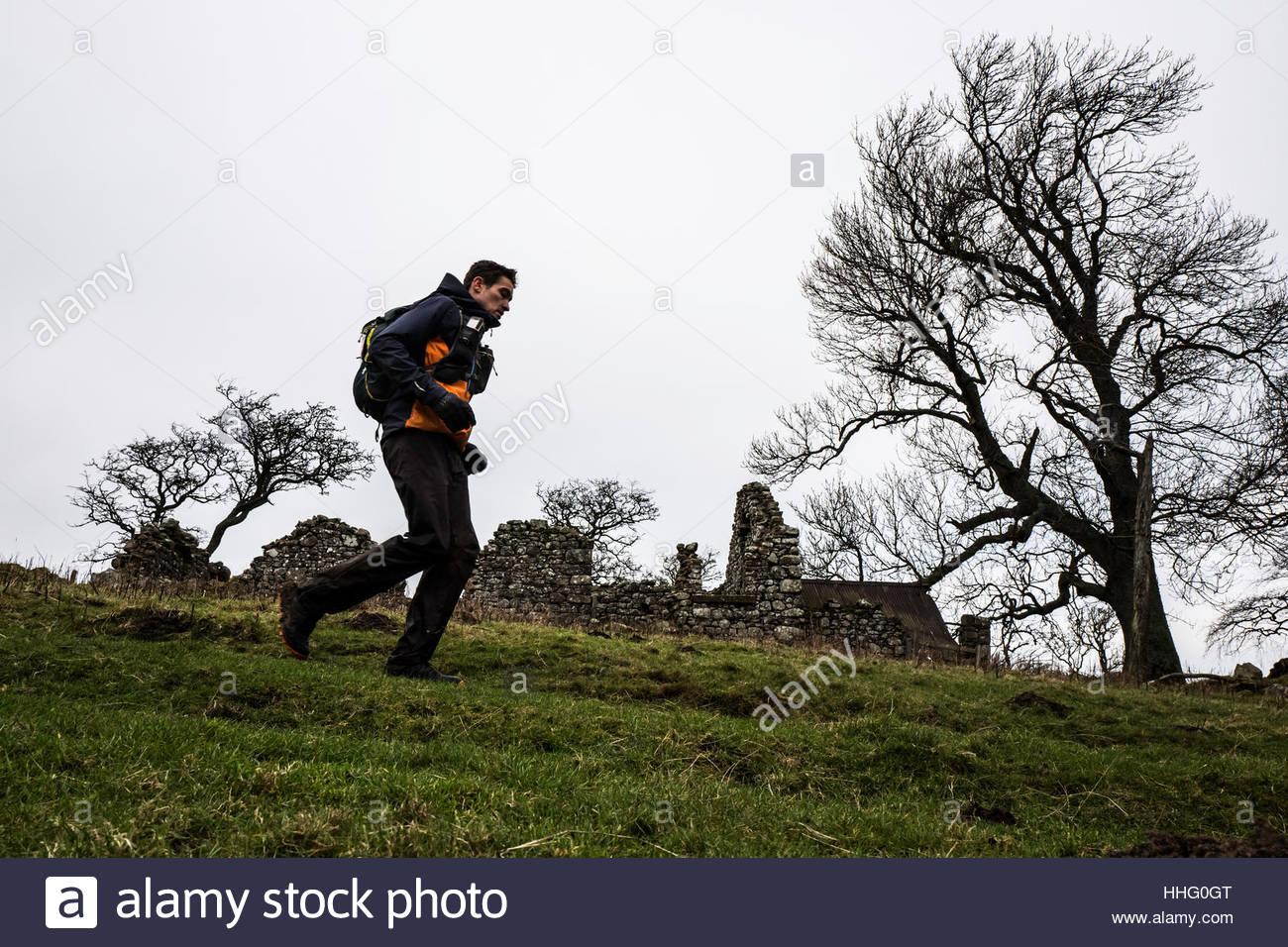Old Halterburn, , Yetholm, Kelso, Scottish Borders, UK. 19th January 2017. Third place Eugeni Rosello Sole (ESP) - Stock Image
