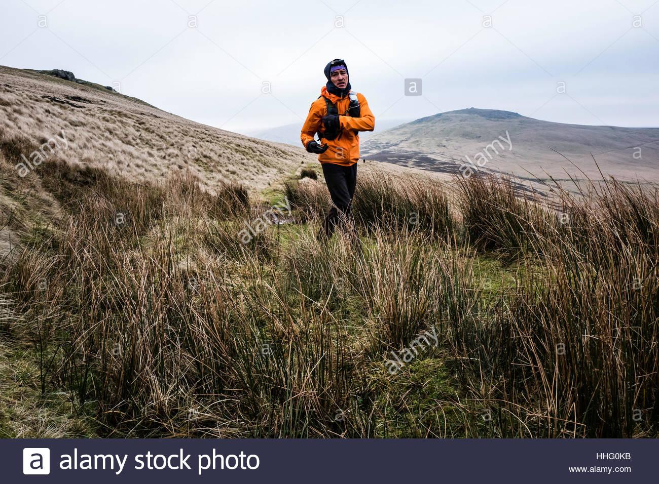 Black Hag, Yetholm, Kelso, Scottish Borders, UK. 19th January 2017. Third place Eugeni Rosello Sole (ESP) crosses - Stock Image