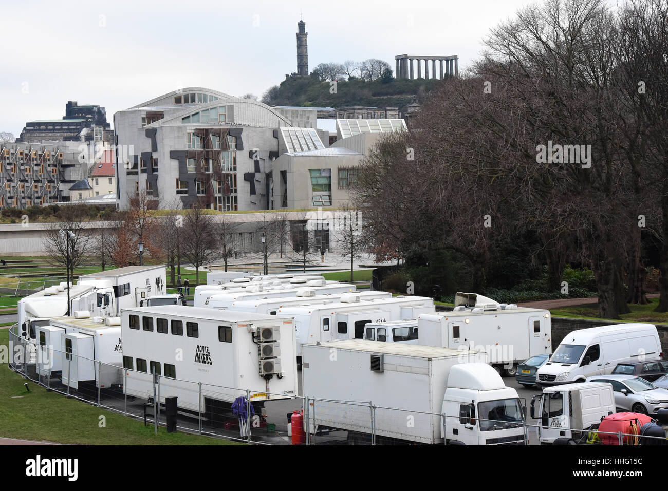 Edinburgh, Scotland, UK. 19th Jan, 2017.  Film location support vehicles and services for the 'Outlander' - Stock Image