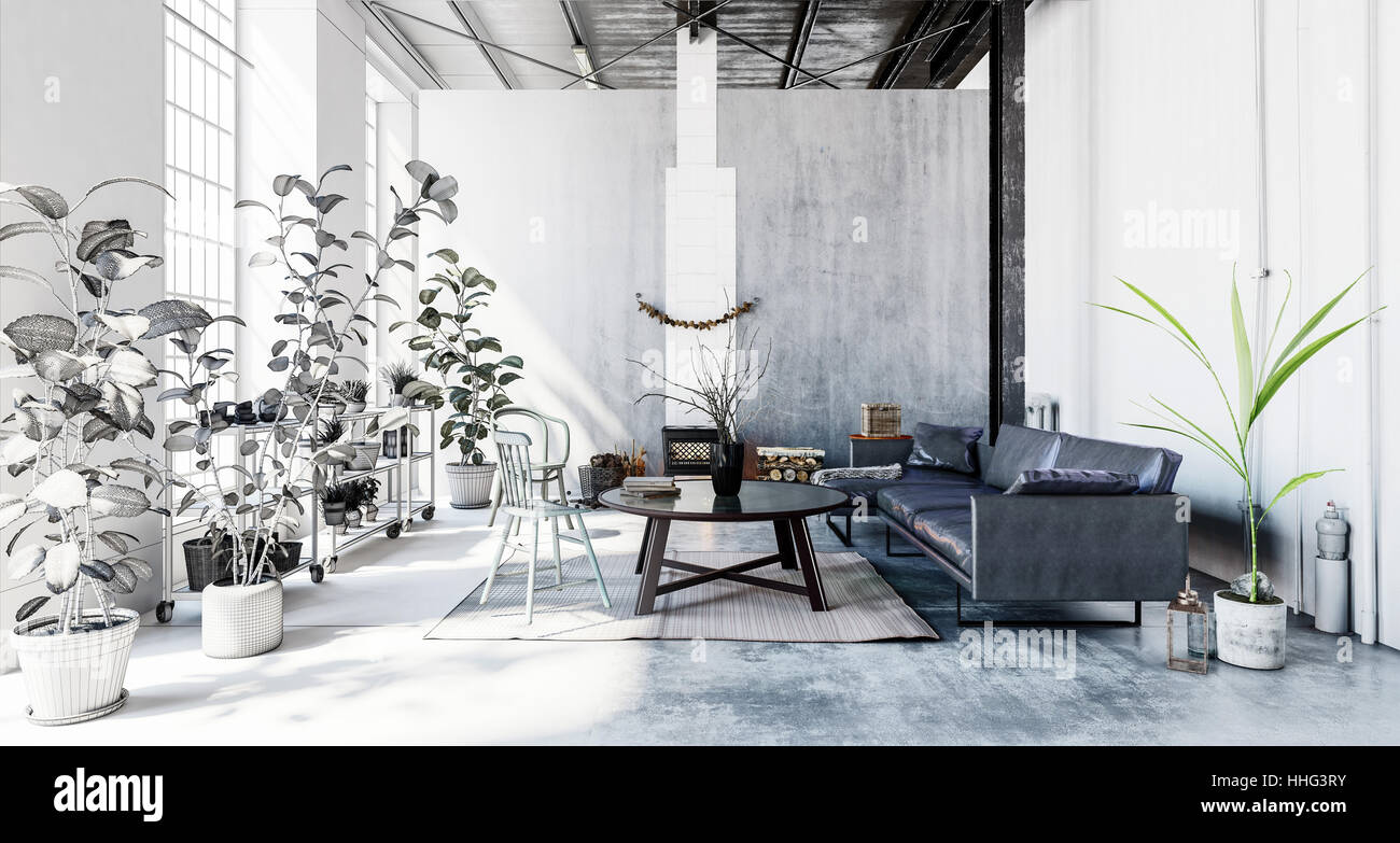 3d rendered interior of a hipster modern living room in a converted ...