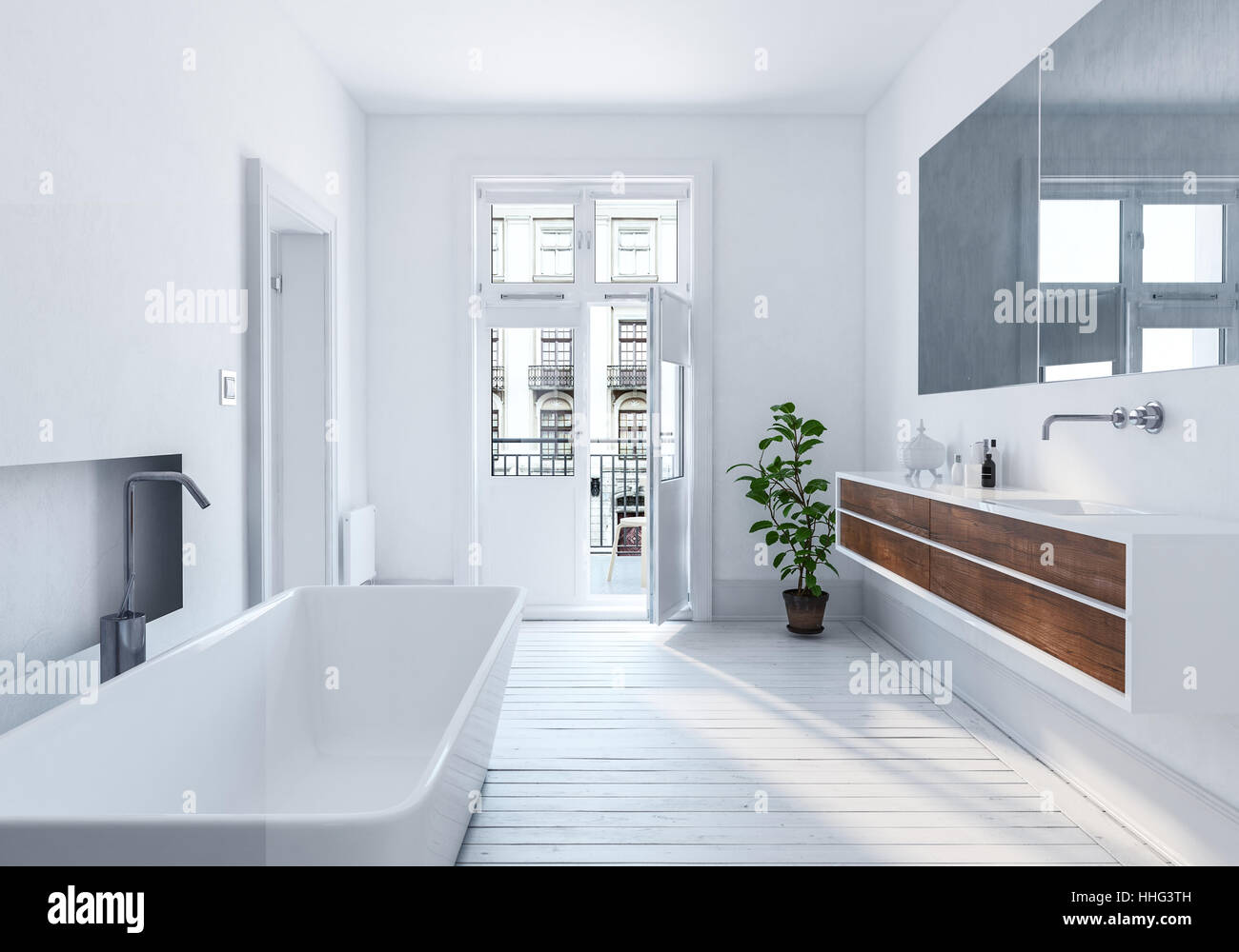 spacious all white bathroom. Modern Spacious White Urban Bathroom Interior With Long Mirror, Wall Mounted Cabinets And Bathtub Monochromatic Decor, 3d Rendering All