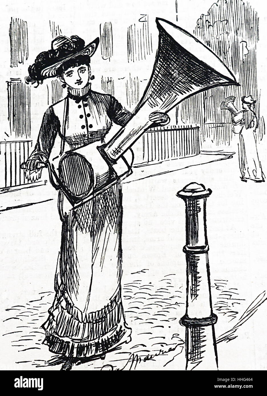 Proposed use for Edison's PHONOGRAPH From Punch, London, 20 April 1878 - Stock Image