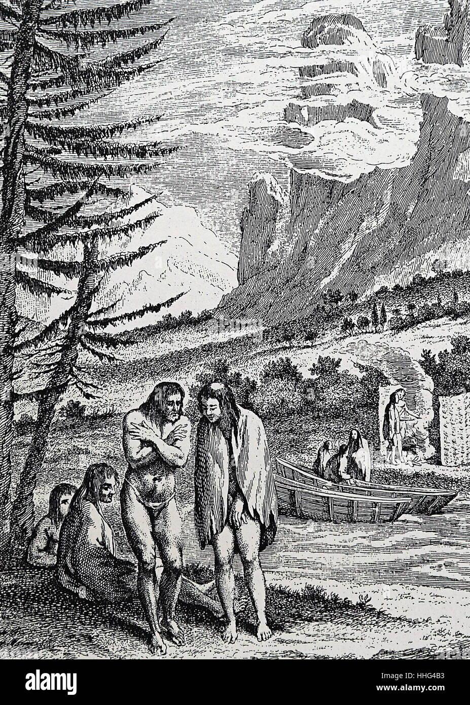 Natives of Patagonia encountered by Ferdinand Magellan - Stock Image
