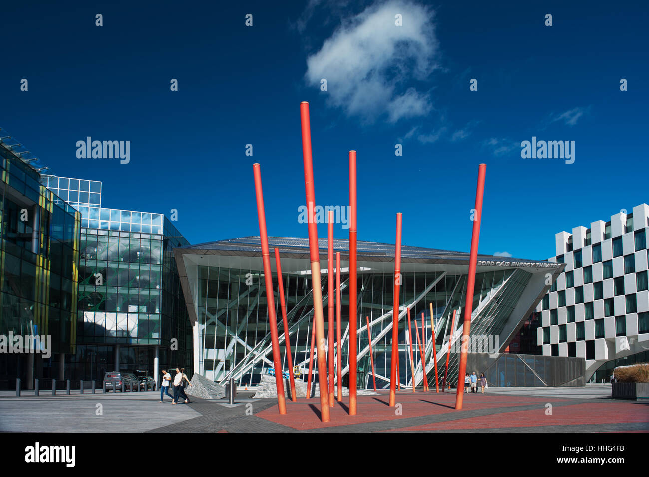 Grand Canal Square and the Bord Gáis Energy Theatre Dublin Ireland - Stock Image