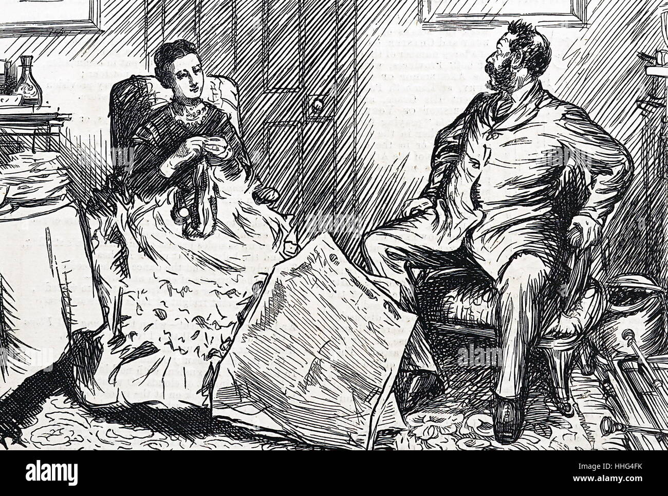 A husband and wife discuss social and political issues in Victorian England 1874. Stock Photo