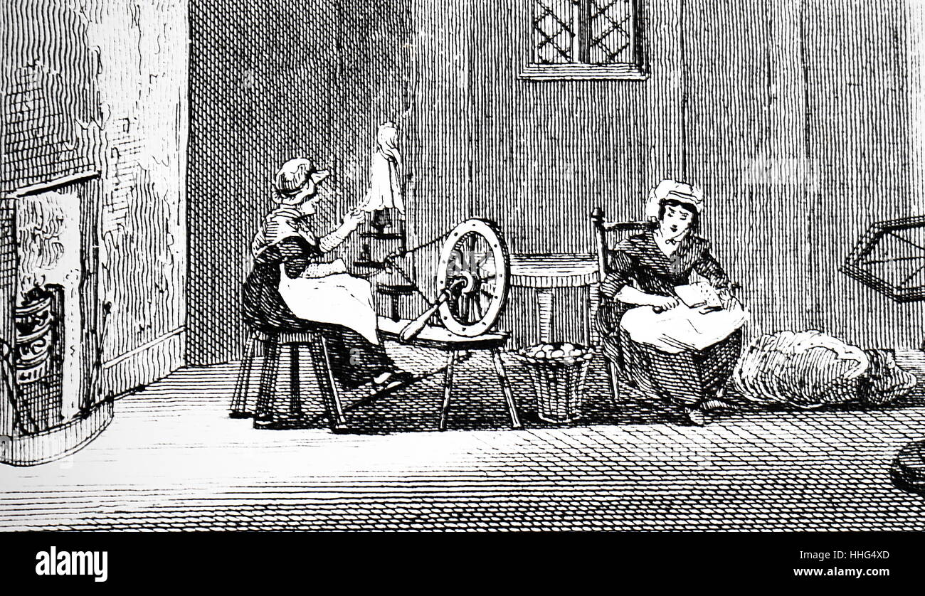 women textile workers in a cottage in Wales - Stock Image