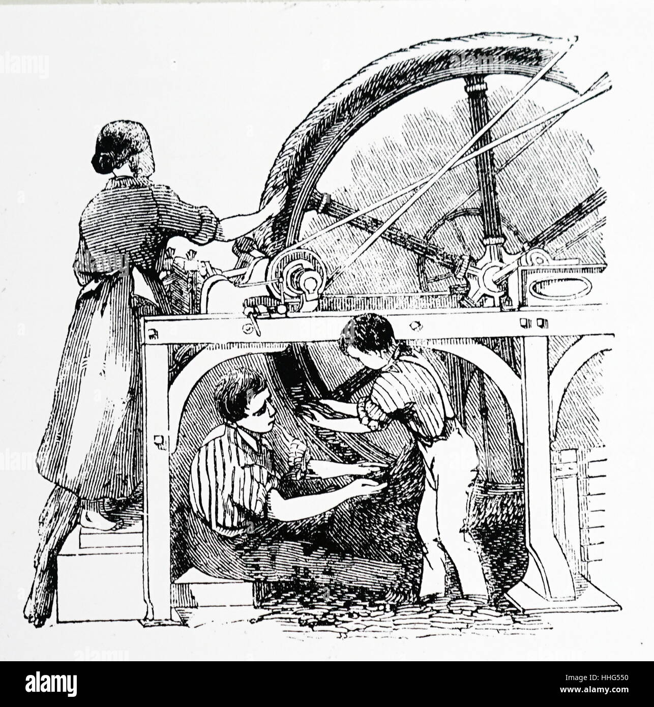 Carpet manufacture, Glasgow: combing wheel which brought the fibres parallel to each other ready for spinning, London, Stock Photo