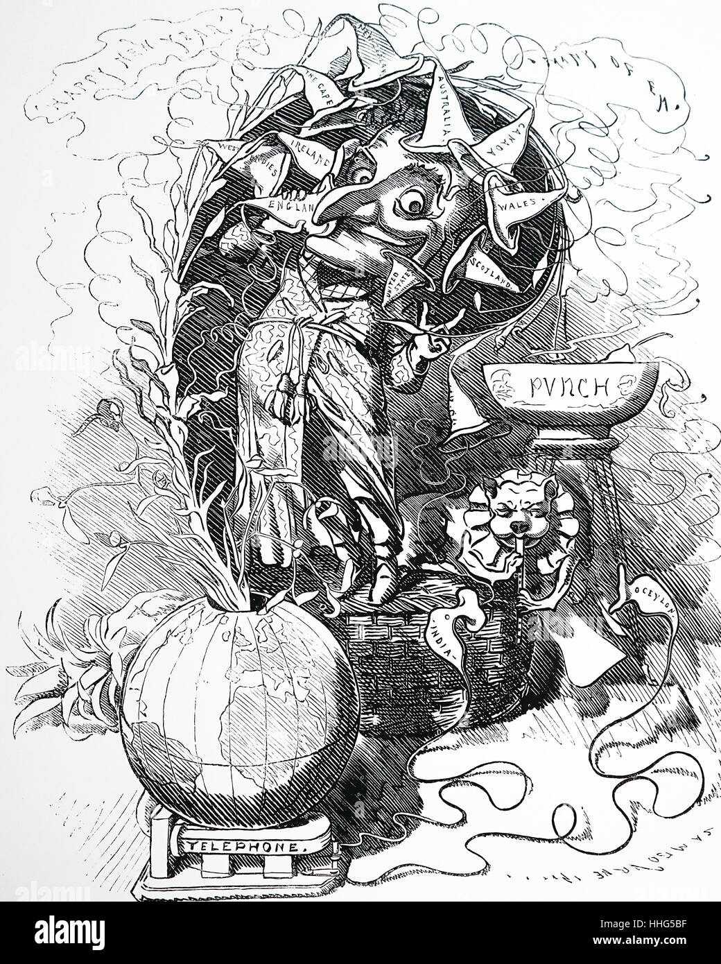 Mr Punch's New-Year greetings to the world - by telephone. Dated 12th January 1878. - Stock Image