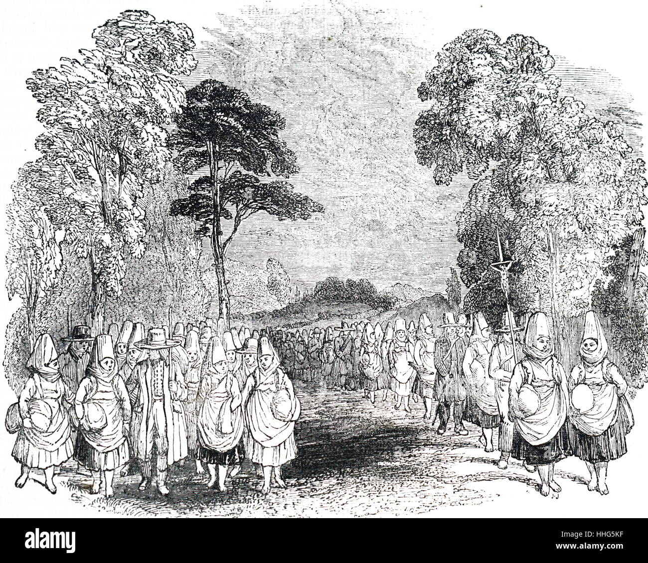 Illustration showing pilgrimage to Mariazell, Austria. 1836. - Stock Image