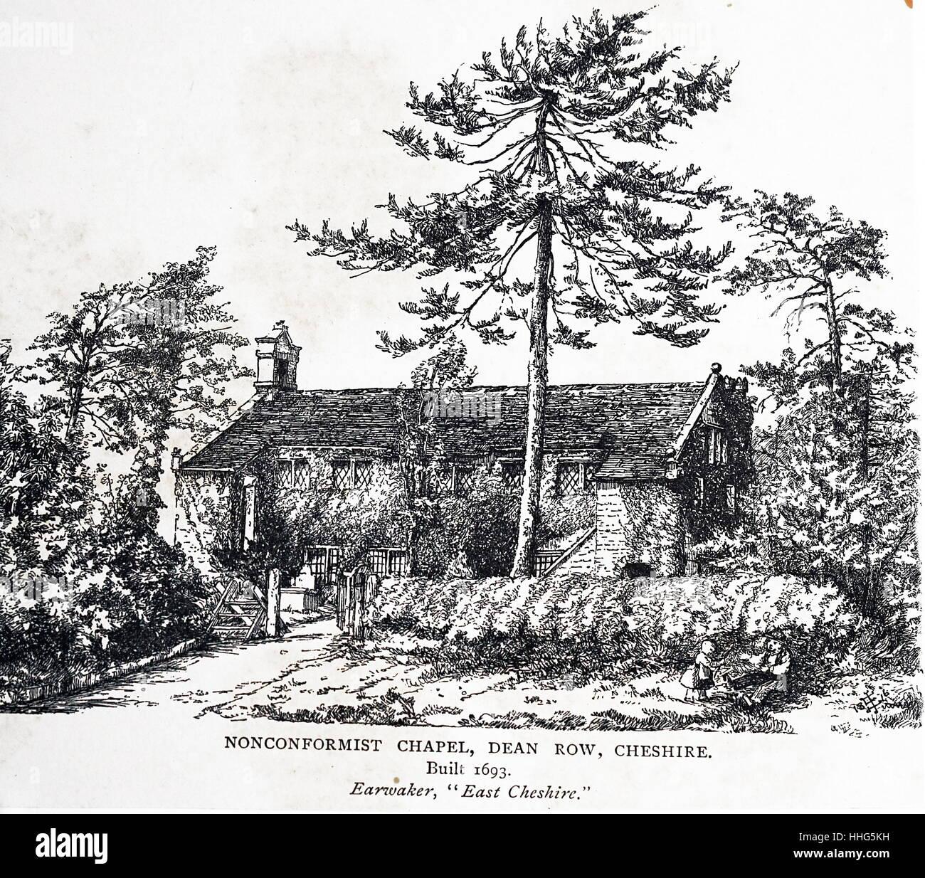 Nonconformist chapel, Dean Row, Cheshire. Built 1693. - Stock Image