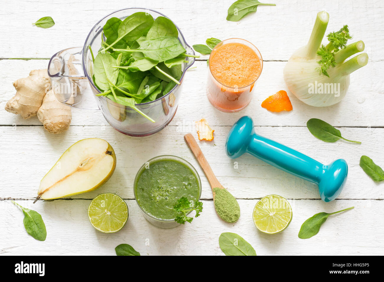 Fruits, vegetables, smoothie, blender, abstract health diet lifestyle concept - Stock Image