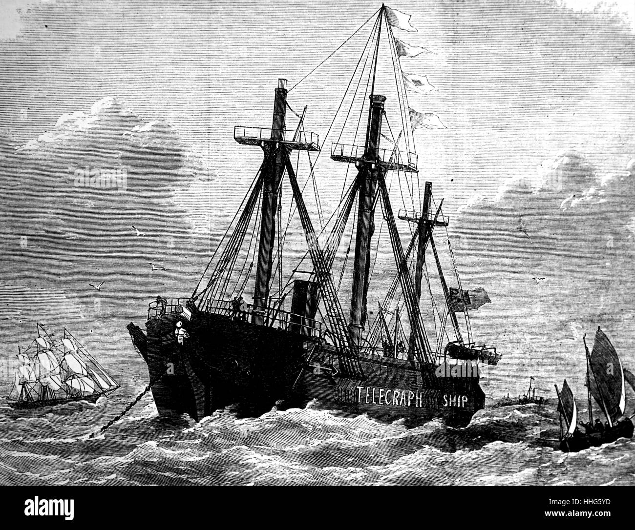 H.M.S. Brisk, granted to the International Mid-Channel Telegraph Company, anchored in the English Channel, 1870. - Stock Image