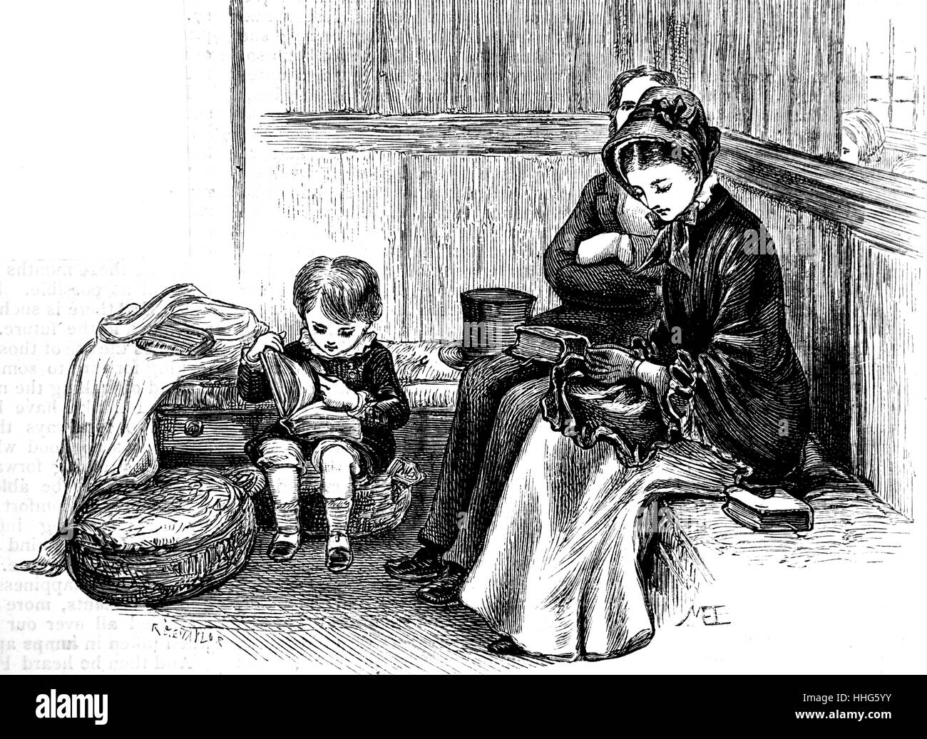 A family sat in a box pew in 1882. - Stock Image