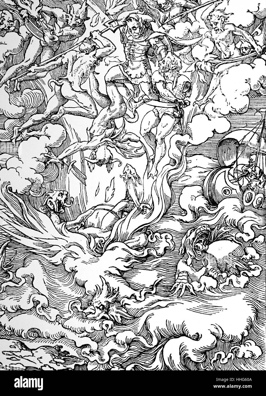 The Last Judgement woodcut by Jean Cousin. - Stock Image
