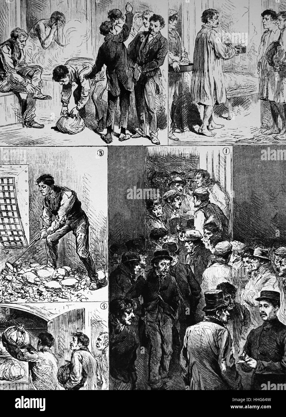 The 'Casual Ward' of a London workhouse - Stock Image