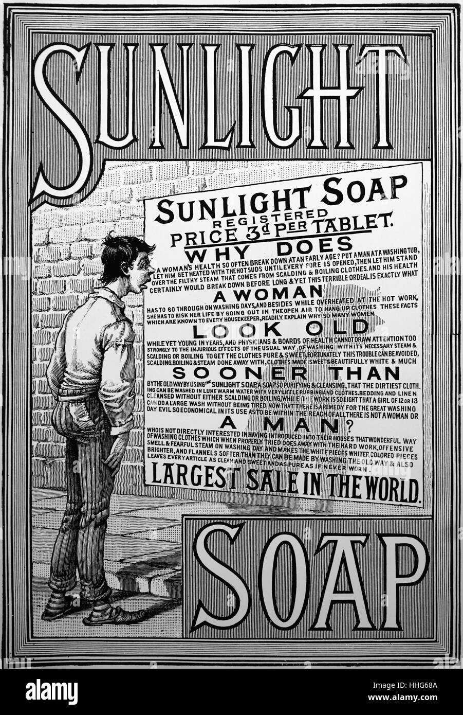 Advertisement of sunlight soap in 1889. - Stock Image