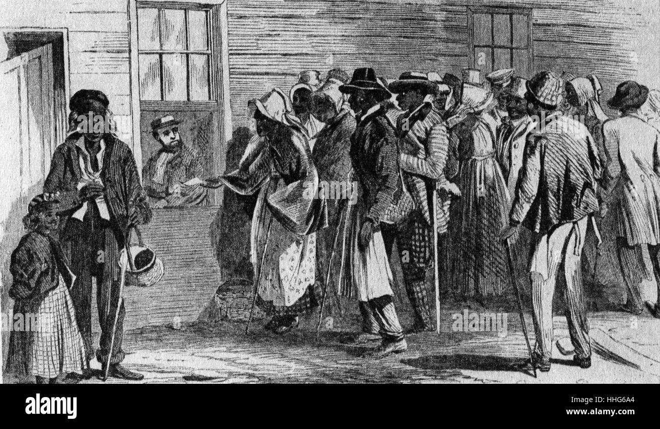The Freedmen's bureau, started by the Republicans, was the Federal Governments first big venture into relief. - Stock Image