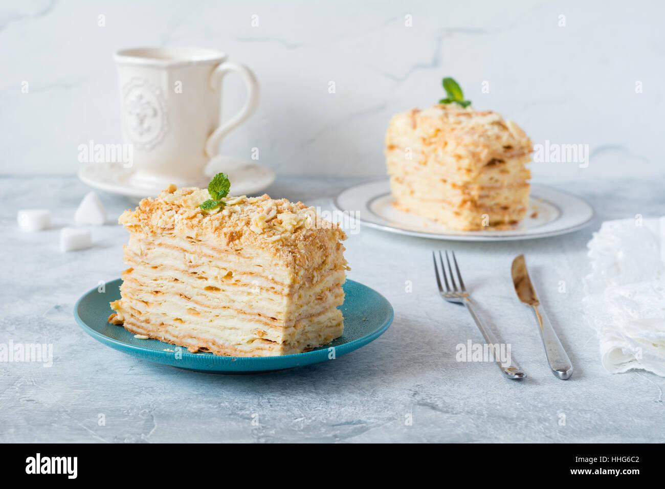 Napoleon cake - multi layered cake with pastry cream. - Stock Image