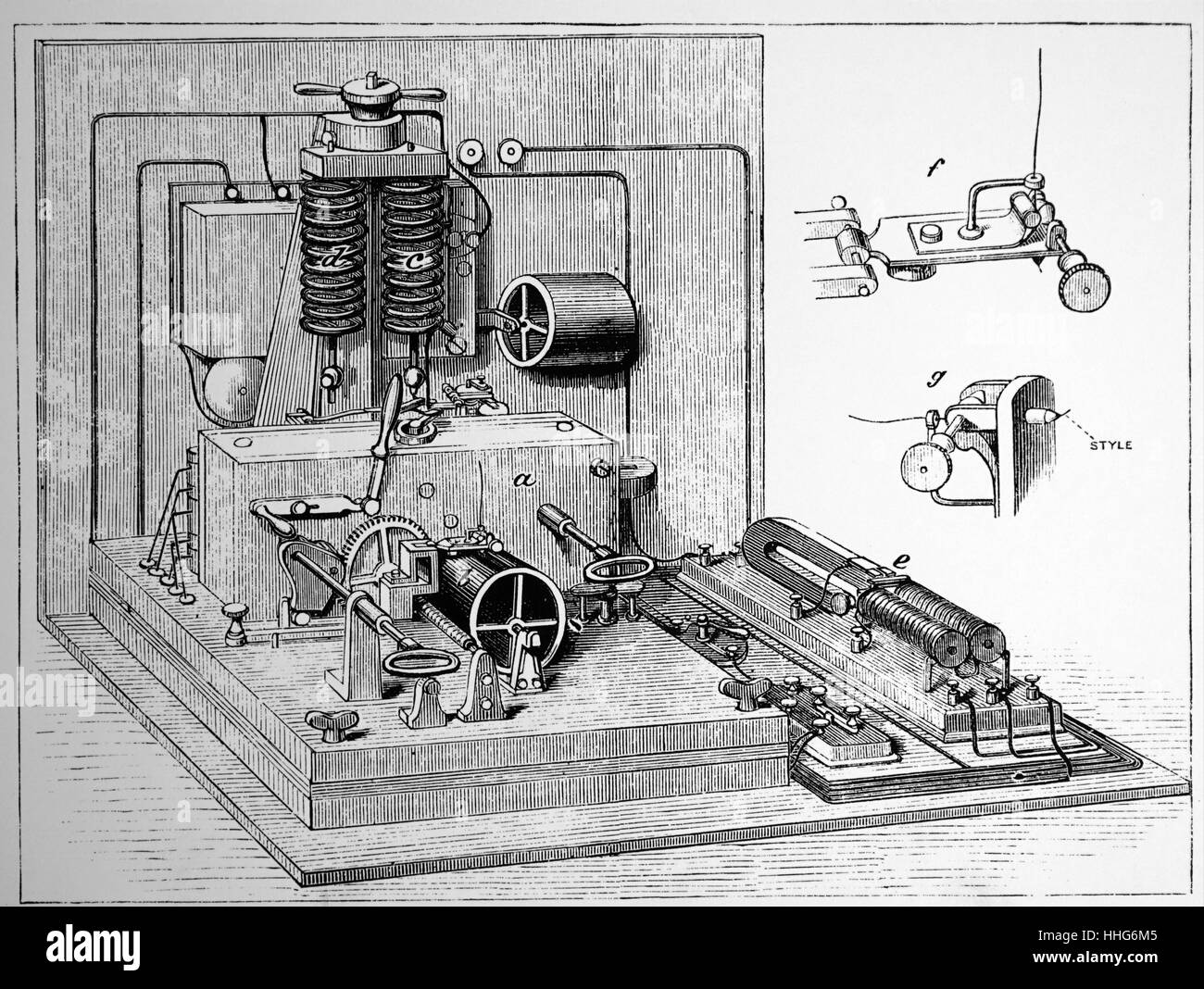 D'Asrlincourt's teleprinter. 1878. - Stock Image