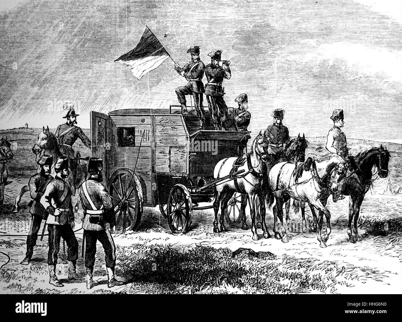 Field telegraph corps; Royal Engineers. Field telegraph headquarters van. 1869. - Stock Image