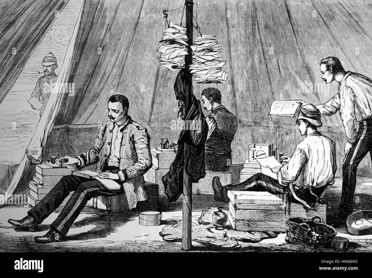 British army telegraph tent during the war in Egypt. 1882. - Stock Image