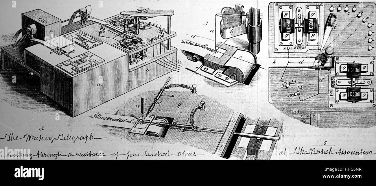 Cowper's writing telegraph 1879. - Stock Image
