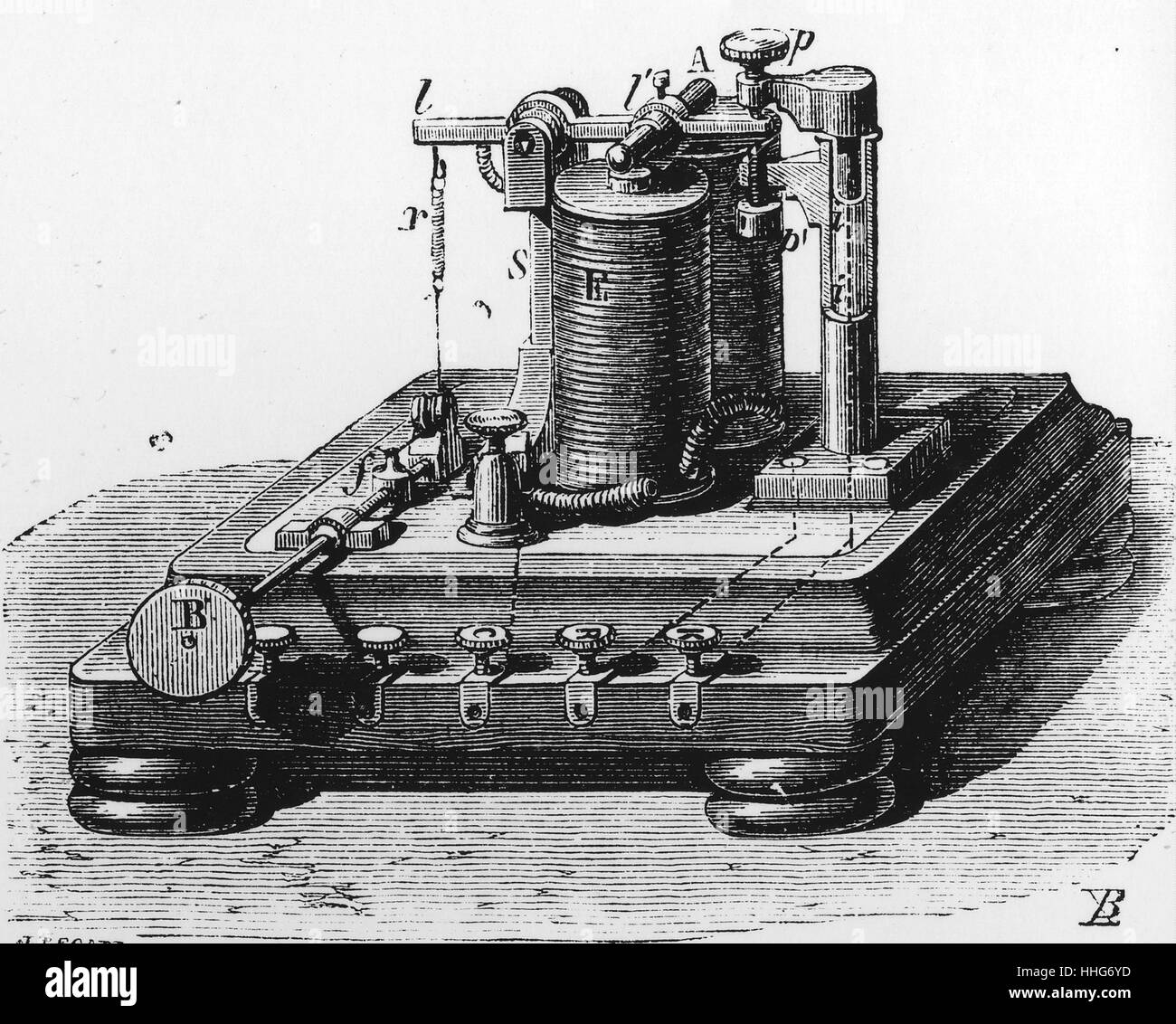 Telegraph relay for use with the Morse system. 1870. - Stock Image
