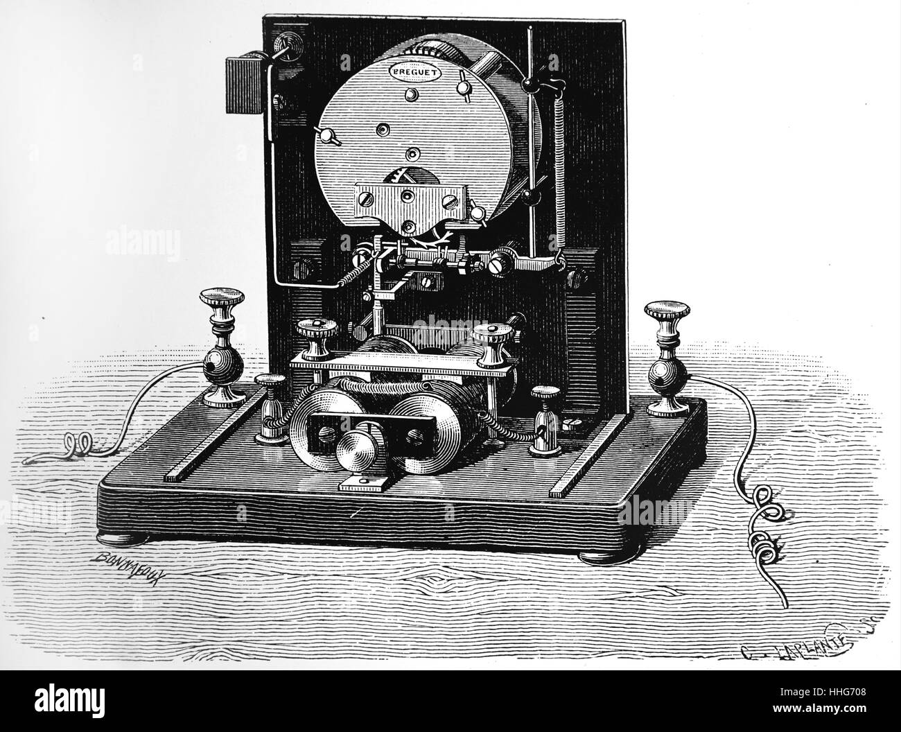 Mechanism of indicator (receiver) of Breguet's dial telegraph. 1891. - Stock Image