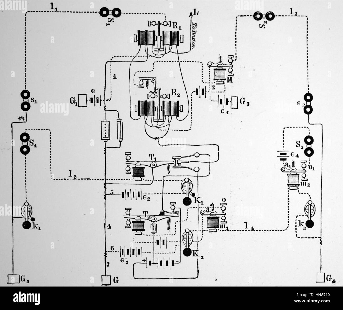 Diagram of quadruplex repeating telegraph system. 1879 - Stock Image
