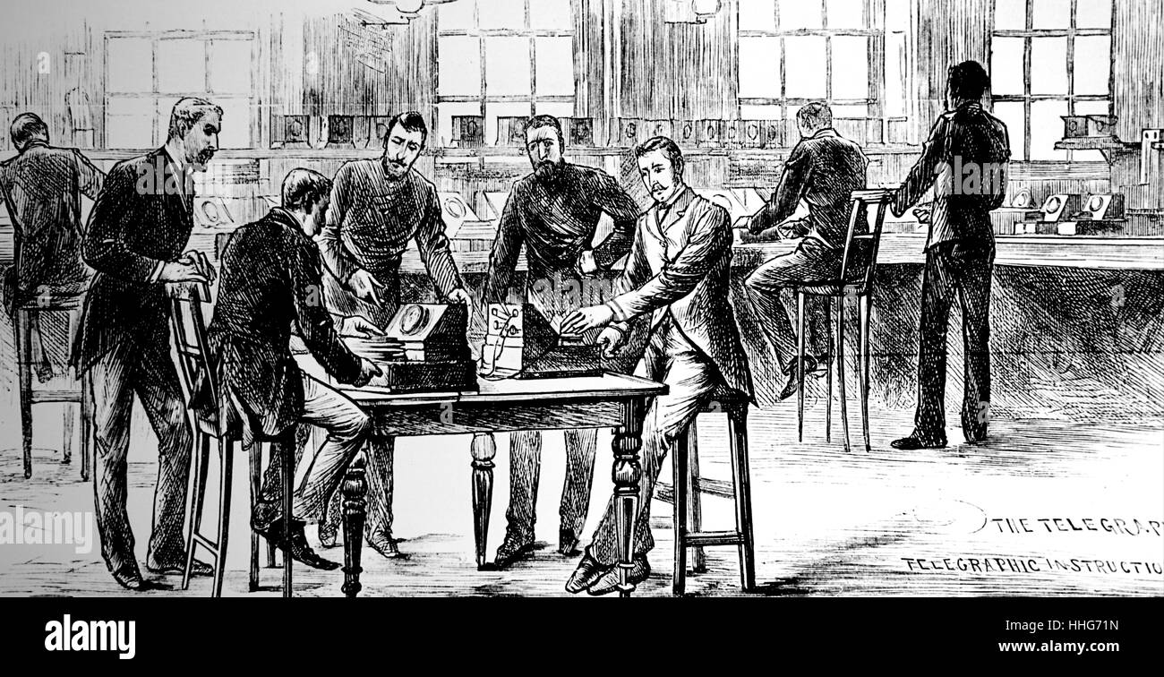 The telegraph room at Scotland Yard 1883. - Stock Image