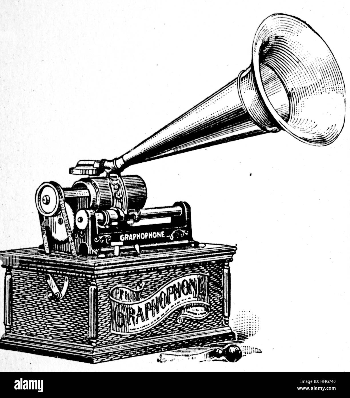 Graphophone; the version of sound playing; recording machine developed by Berliner at much the same time as Edison - Stock Image