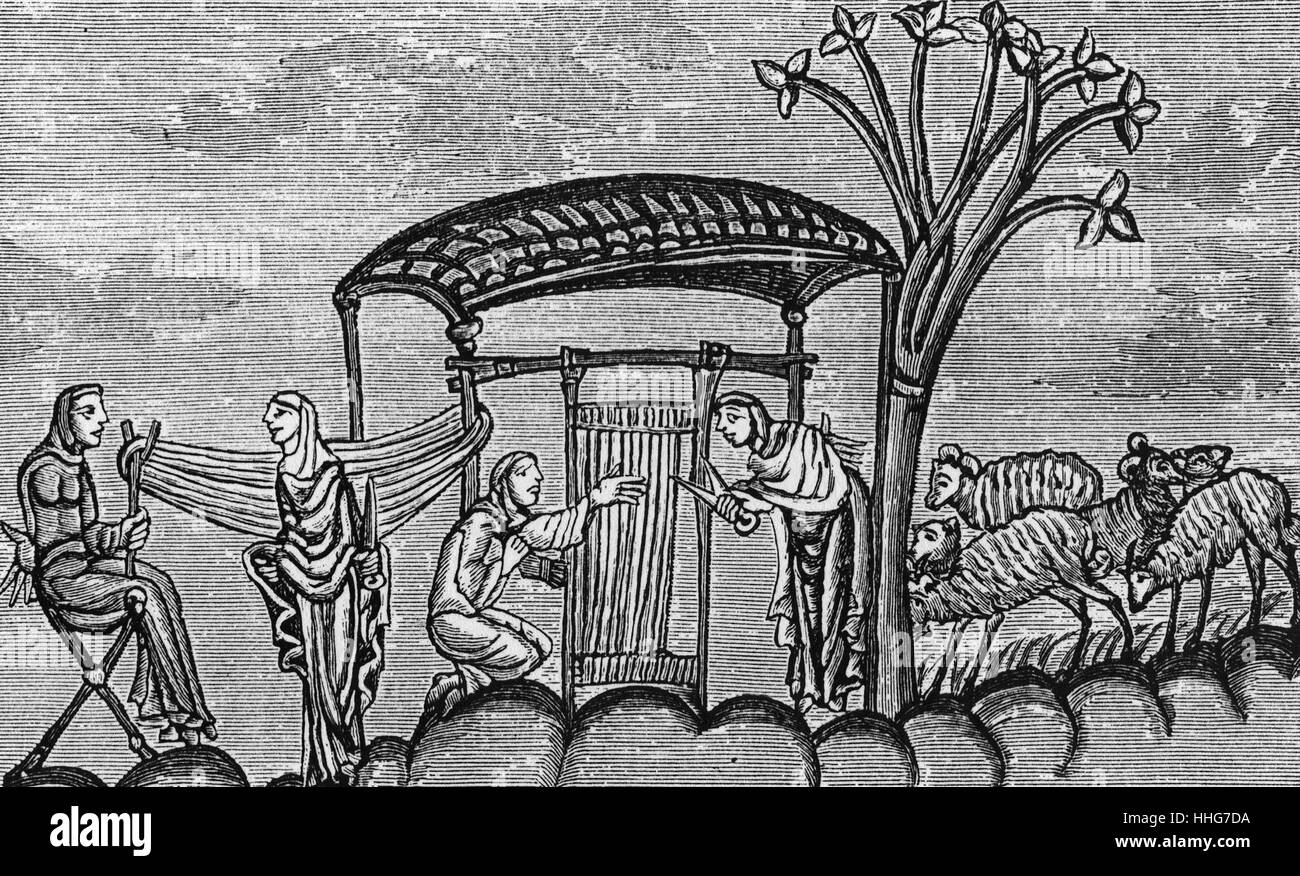 Illustration depicting women weaving on a vertical loom - Stock Image