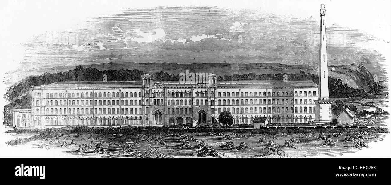 Illustration depicting the Saltaire; model textile factory - Stock Image
