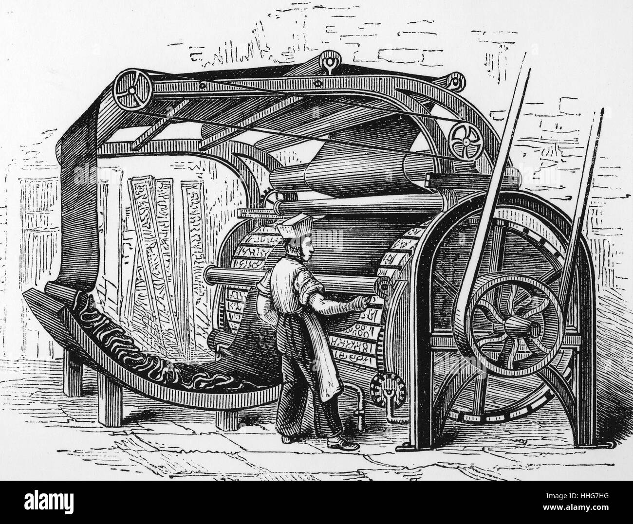 Illustration depicting a gig-mill - Stock Image