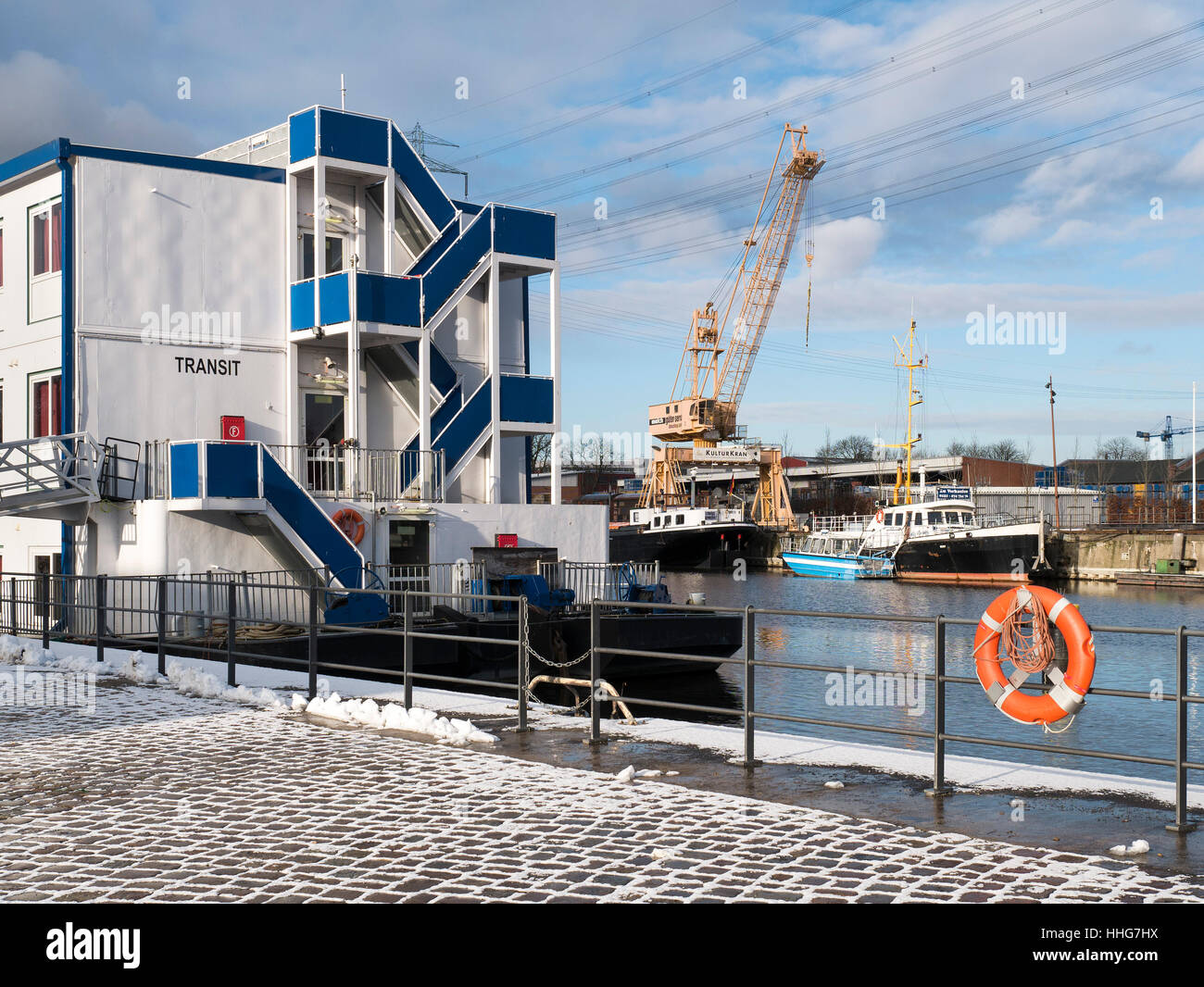 Houseboat for refugees  at Harburg Harbour, Hamburg, Germany Europe - Stock Image