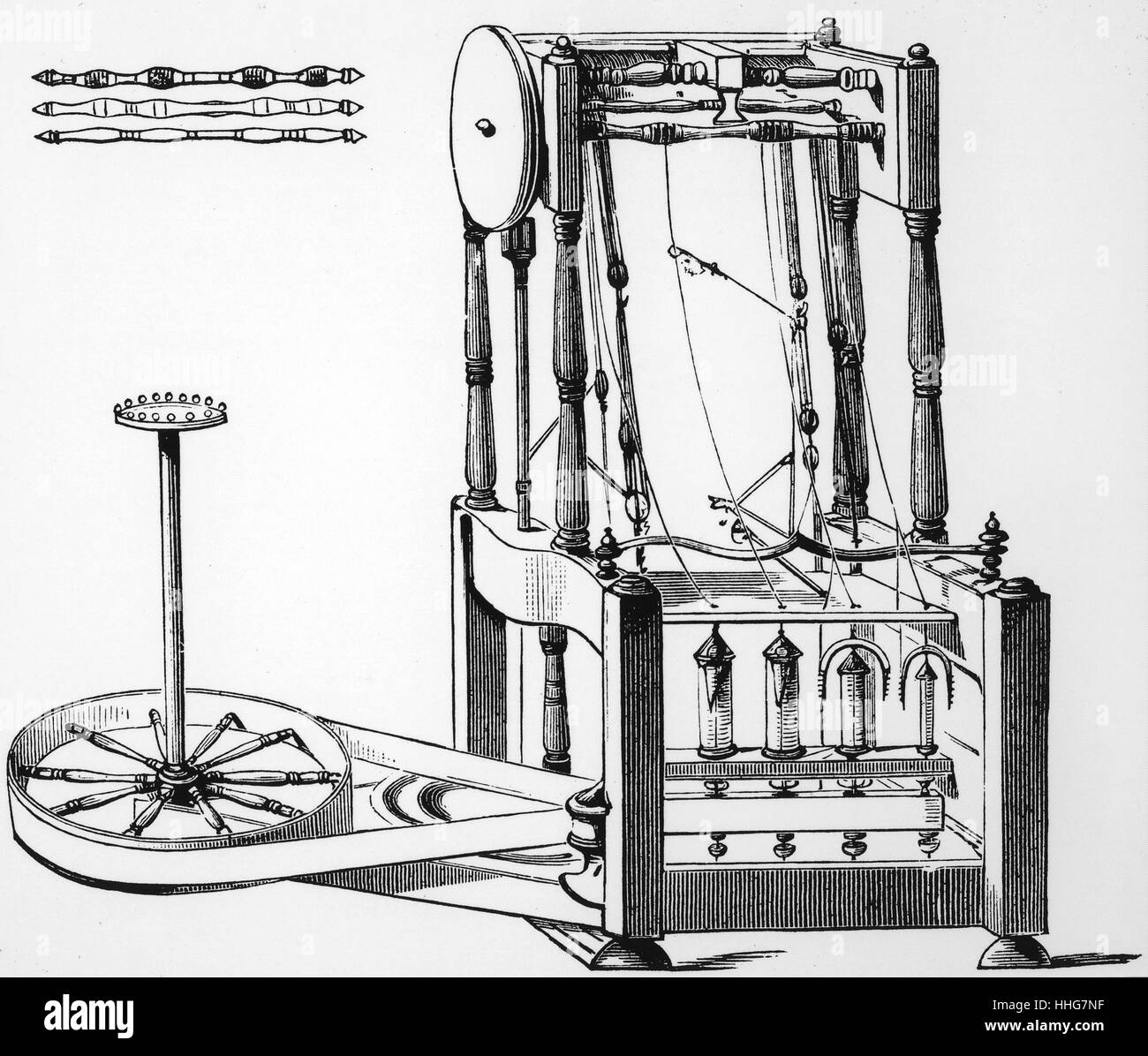 Illustration depicting Arkwright\'s water frame spinning machine ...