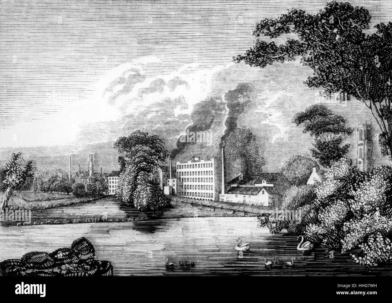 Sir Thomas Lombe's silk mill on the river Derwent at Derby - Stock Image