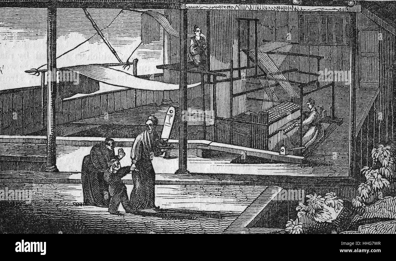 Workers weaving silk in China 1833 - Stock Image